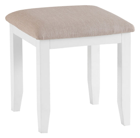 Oak & Hardwood White Dressing Table Stool