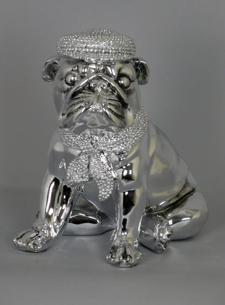 Silver High Finish Electroplated Bulldog Sitting Ornament Figurine with Hat & Scarf