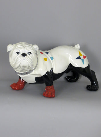 Black & White Ceramic Bulldog Ornament with Multicolour Spots and Jewel Collar
