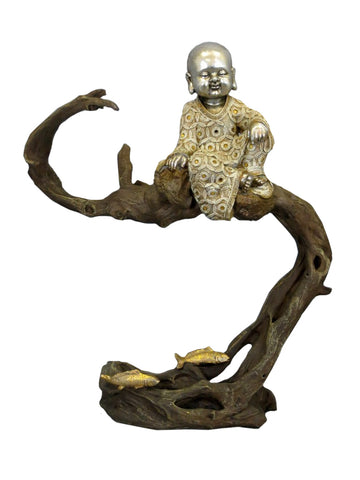 Baby Buddha Monk Sitting on Tree (Gold & Silver)