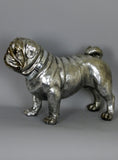 Silver Electroplated Standing Ceramic Pug Dog Ornament Figurine