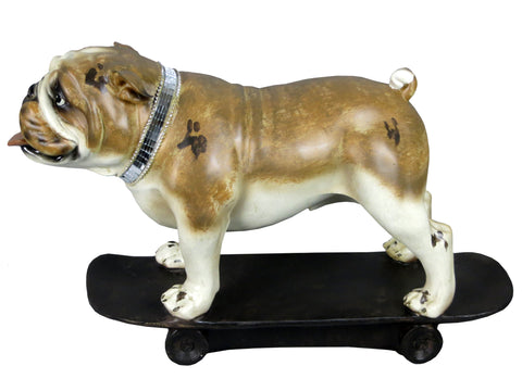 Bulldog on Skateboard Ornament with Mosaic Collar