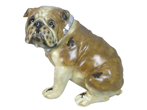 Sitting Brown Bulldog Ornament with Mosaic Collar