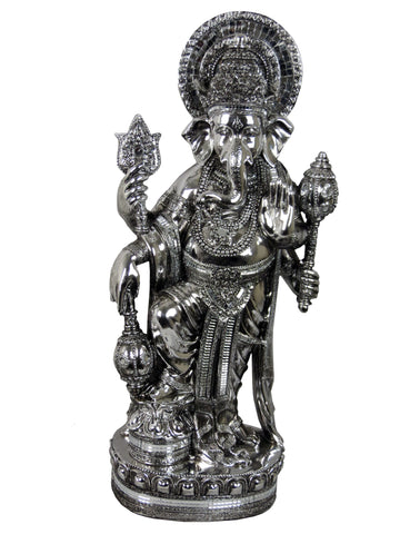 Large Silver Mosaic Standing Ganesha Ornament
