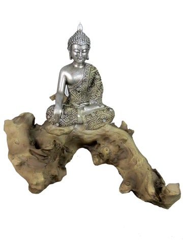 Silver Buddha on Driftwood Log Ornament