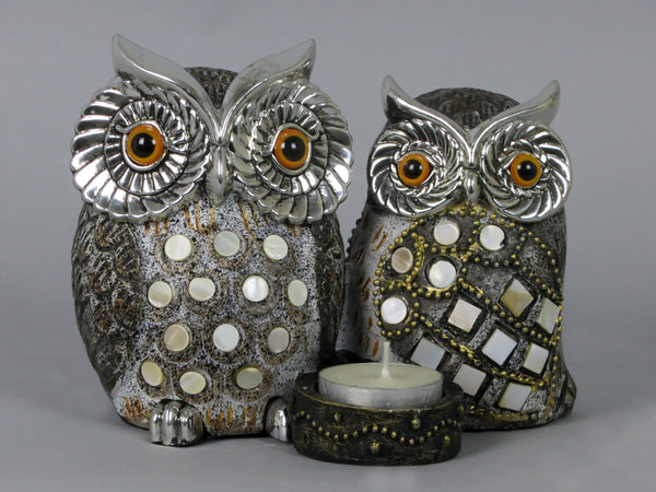 Pair of Silver & Gold Owls Tea Light Candle Holder