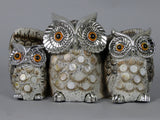 Owl Family Silver & Gold Mosaic Ornament