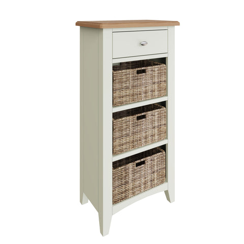 Fresh White with Oak Tops Single Drawer & Triple Basket Tall Cabinet