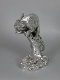 Silver High Electroplated Chameleon on Tree Reptile Ornament Figurine