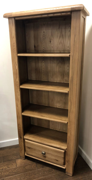 Weathered Oak Bookcase with Drawer