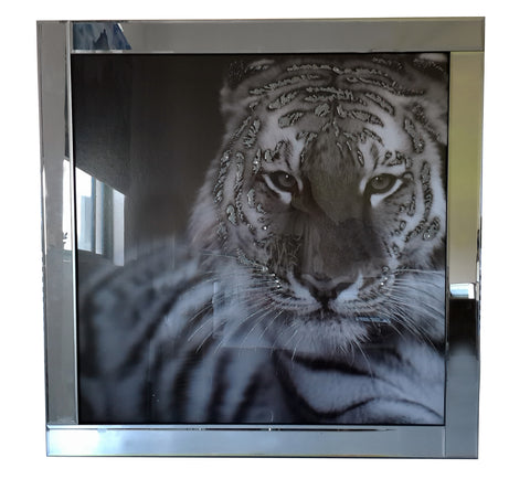 Liquid Art Mirror Frame Glitter Tiger Hanging Picture