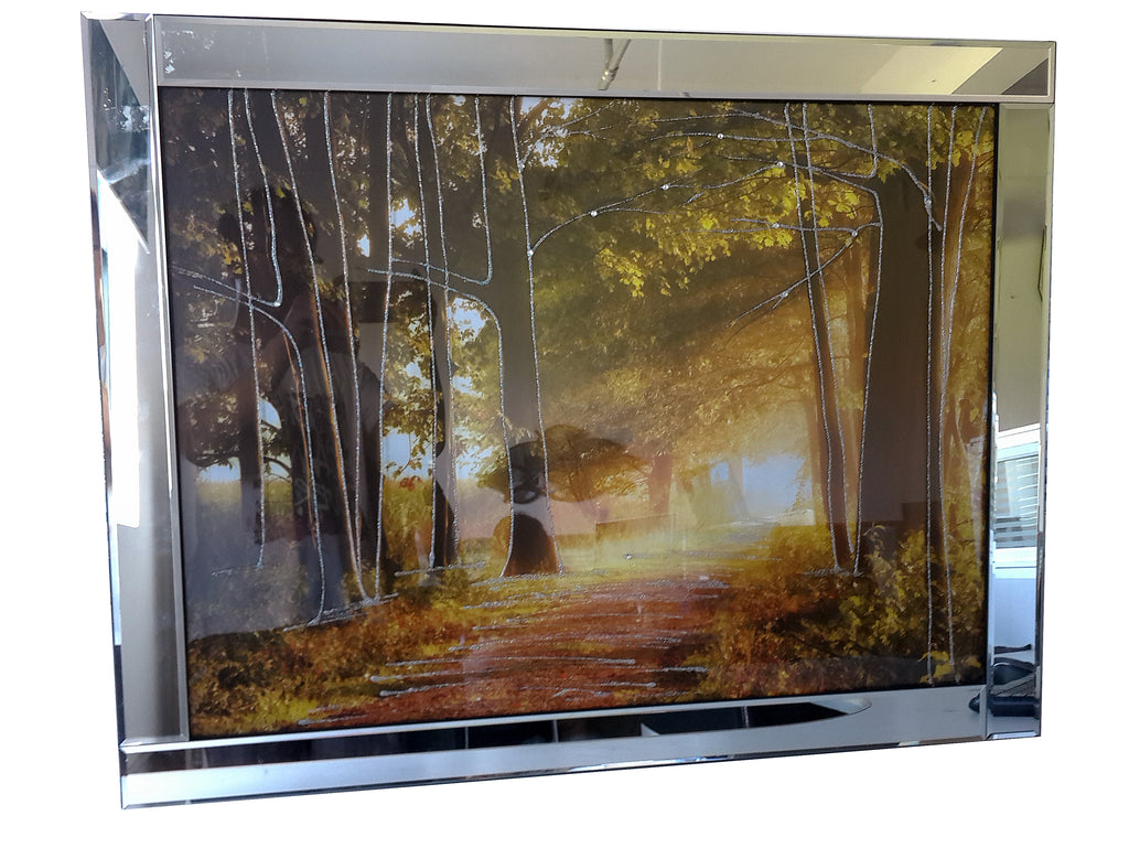 Liquid Art Mirror Frame Forest Trees Wall Hanging Picture ...