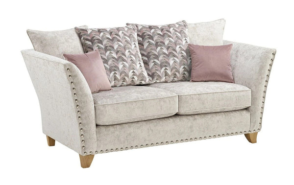 Perre Nickle Grey & Pink Fabric 4 Seater Sofa