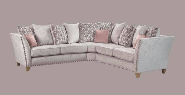Perre Nickle Grey & Pink Fabric Corner Sofa