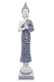 White & Blue Oriental Tall Praying Buddha Ornament