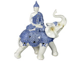 White & Blue Oriental Praying Buddha on Elephant Ornament