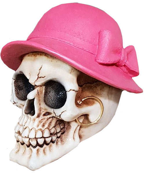 Medium Pink Hat Skull Ornament