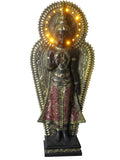 Large Gold & Red Standing Buddha Ornament with Light Surround