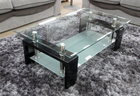 Reno Glass Coffee Table with Frosted Glass Shelf and Black Gloss Legs