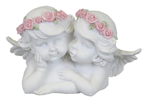 White Cherub Couple Ornament with Pink Flower Headband