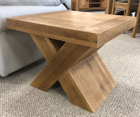 Maxi Oak X Shape Coffee Lamp Table
