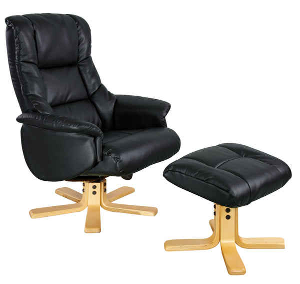 Swivel Recliner Black Shanghai Bonded Leather Chair with Stool