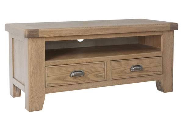 Warm Rustic Oak Effect Small TV Stand