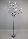 Standard Orchid Silver Floor Standing Standard Lamp White Flowers with Grey Beads