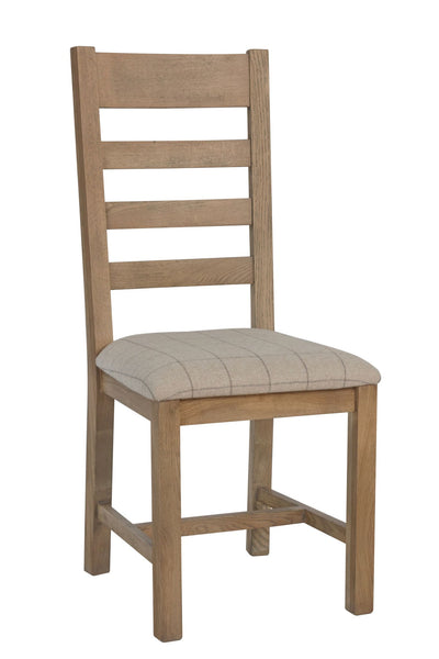 Warm Rustic Oak Effect Slatted Back Dining Chair with Beige Padded Seat