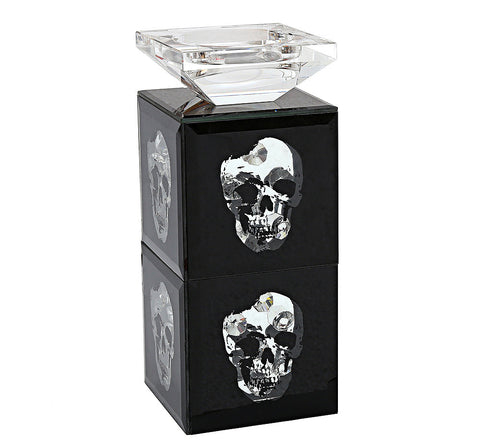 Black Mirrored Glass Crystal Skull Pillar Tea Light Candle Holder