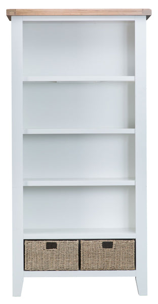 Oak & Hardwood White Large Bookcase