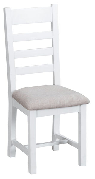 Oak & Hardwood White Ladder Back Fabric Padded Seat Dining Chair