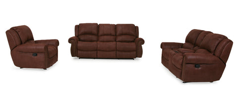 Brown Fabric Sofa 3 Seater 2 Seater Chair Rocker Recliner
