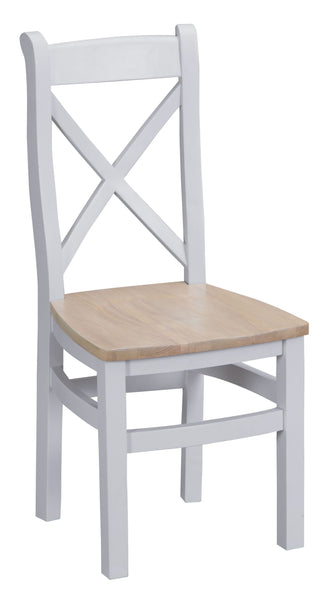 Oak & Hardwood Grey Cross Back Wooden Seat Dining Chair