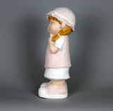 City Kidz Ceramic Child Girl Pink Standing Finger on Chin Ornament Figurine