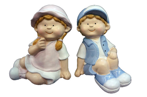 City Kidz Boy & Girl Sitting Ornament
