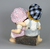 City Kidz Ceramic Children Boy Girl Blue Pink with Ladybird sitting on Log Ornament Figurine