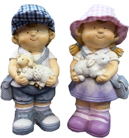 City Kidz Boy & Girl Holding Animals Ornament
