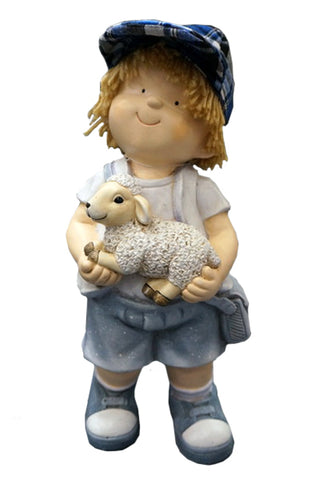 City Kidz Boy in Blue Holding Sheep Ornament