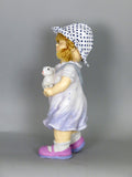 City Kidz Ceramic Children Girl Standing Holding Rabbit Ornament Figurine