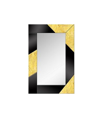 Black & Gold Leaf Abstract Wall Mirror