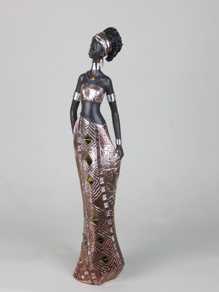 Tall African Lady Woman Female Ornament Figurine Silver