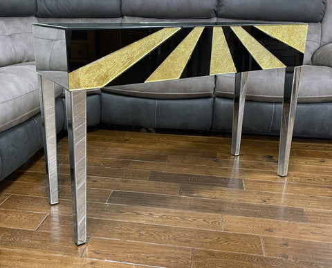 Real Gold Leaf & Black Glass Mirrored Sun Burst Console Table - WL311