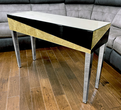 Real Gold Leaf & Black Glass Mirrored Console Table