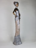 African Lady Ornament with Gold Skin and Silver and Marble Fleck Dress Statue Figure