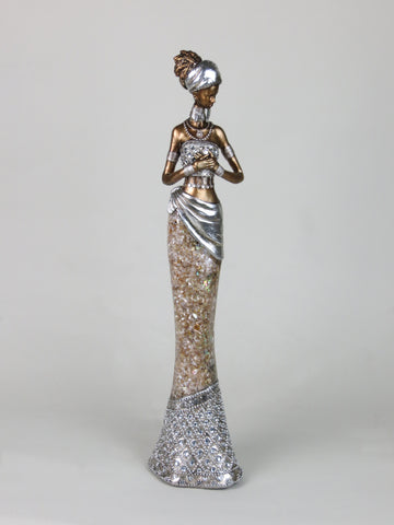 African Lady Woman Ethnic Ornament Figurine Peach Marble Effect & Silver Dress Golden Skin