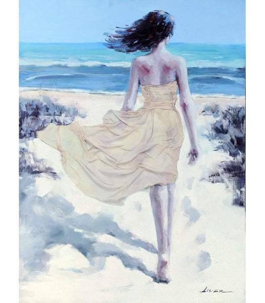 Beach Girl Rear Large Raised Details Canvas Oil Painting