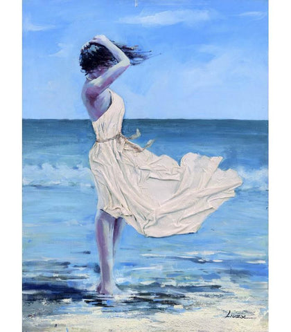 Beach Girl Side Large Raised Details Canvas Oil Painting