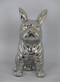Silver Electroplated Sitting French Bulldog Ornament Figurine