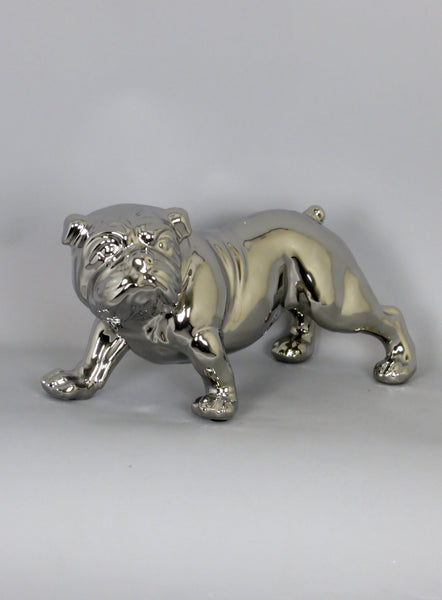 Electroplated Silver Ceramic Standing Bulldog Dog Ornament Figurine